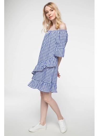 DeFacto Fırfır Detaylı Kareli Elbise Mavi